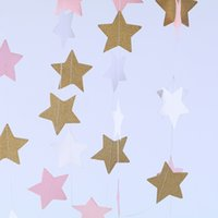 Wholesale paper hanging star - 2m Creative Paper Stars Hanging Ornaments for Wedding Party Banner Hanging Paper Garland Shower Room Door Decoration