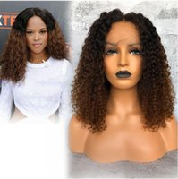 Wholesale human hair curly ombre wigs resale online - Premier Top A Ombre Color Glueless Lace Front Wigs Brazilian Virgin Hair Wigs Density Loose Curly Pre plucked Human Lace Wigs