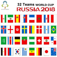 Wholesale soccer fans flags for sale - Group buy 2018 Russia World Football Cup Country String flag x21cm Country Banner Bar Home Football Soccer Fan Party Decoration GYH