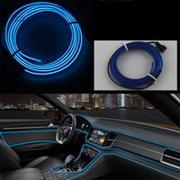 Wholesale fluorescent strip lights - New 1meters RED EL-Wire 12V Car Interior Decor Fluorescent Neon Strip Cold light Tape Free shipping