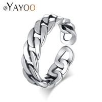 Wholesale Ring Silver Men Rock - whole saleAYAYOO Rings Silver 925 Sterling Jewelry Rings For Women Vintage Chain Link Men Punk Ring Rock Open Midi Finger Ring Jewellery