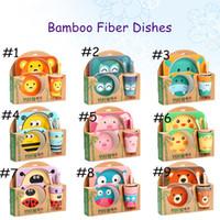 lindo plato de bebe al por mayor-5 unids / set Natural Bamboo Fiber Bowls BPA Free Cute Cartoon Baby Dishes Baby Feeding vajilla Infant Toddler Ambiental placa