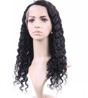 Wholesale top lady human hair wigs resale online - Discount new top grade unprocessed remy virgin human hair long natural color kinky curly full lace cap wig for lady