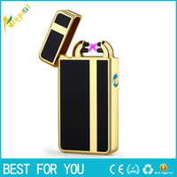 Wholesale electronic fire lighter resale online - New hot Authentic business models USB electronic pulse double fire lighter metal windproof personalized Valentine s day gift lighter