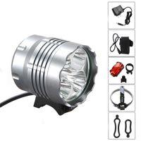 Wholesale bike light headlamp online - Outdoor riding XM L x T6 Bicycle Light Headlight Lumen LED Bike Lamp Headlamp V Charger mAh Battery Pack waterproof