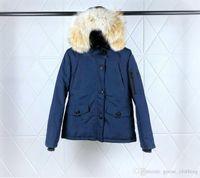 Wholesale waterproof hats women for sale - Women s Short Dark Blue Goose Hooded Wolf Fur Collar Down Jacket Waist Zipper Closed Waterproof Fabric Windproof Ski Suit DHL Delivery