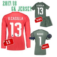 Wholesale Long Sleeve Adult Soccer Kits - 17 18 Real madrid UCL Goalkeeper soccer Jerseys Long sleeve KIDS NAVAS 1 K.CASILLA ADULT KIT SOCKS and shorts pant red CAMISETA DE FUTBOL
