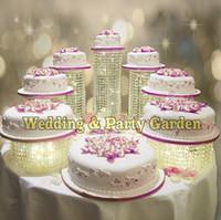 décoration gratuite de tablette de cupcake de mariage achat en gros de-Livraison gratuite 7 pcs / set Party anniversaire décoration Cupcake Stands fête de mariage Display Crystal Cake Stand table banquet décoration