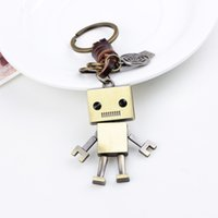 Wholesale robot keychain metal - Vintage Big Head Robot Key Buckle Metal Zinc Alloy Keychain Unisex Plated Keyring For Men And Women 5 8nm B