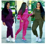 Wholesale Football Pins - 2018 PINK Hot pin sleeved wooden ear stitching suit, long sleeved coat + long pants purple black green ripndip fear pf gpd