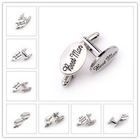 Wholesale men s cufflink shirts for sale - Group buy 13 Style Men S Fashion Silver Oval Wedding Jewelry Cufflinks Groom Best Man Best Friend French Shirt Cuff Links High Quality pairs