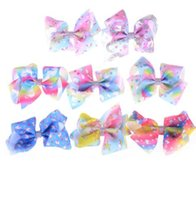 Wholesale 5 inch bows clips resale online - Cute Unicorn Hairpins Rainbow Ribbon Hair Bow hair clips inch Kids Hair Accessories Jojo Bows Unicorn Birthday Party Supplies KKA4209