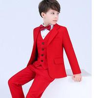 erkek takım elbise smokinleri toptan satış-Erkek 4 adet blazer çocuk Erkek düğün için suit Balo Erkek Çocuklar için parti suit Suits smokin Çocuk Giyim Blazers