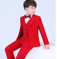 kinderkleidung für hochzeiten großhandel-Jungen 4pcs Blazer Kinder Jungen Anzug für Hochzeiten Prom Anzüge Party Anzug für Jungen Kinder Smoking Kinder Kleidung Blazer