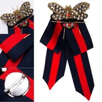 damla nakliye yay kravat toptan satış-Beatfull Tasarımcı Rhinestone Önceden Bağlı Şerit Papyon Erkekler için / Kadınlar Arı Kadınlar Için Broş Pin Yaka Takı Destek FBA Bırak Nakliye H415R