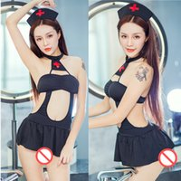 Wholesale summer nurses uniforms for sale - Group buy Sexy Cropped Hollow out Party Dress nurse uniform nightclub Sexy cosplay costumess halter strapless mini dresses black white colors