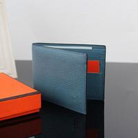 einfacher beutelgeldbeutel großhandel-Männer Brieftasche Mode Plain Design Echtes Leder Kurze Geldbörse, Männer Luxuriöse Marke Brieftasche Für Kreditkarten Mit Staubbeutel Box