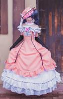 kahya kostümleri toptan satış-Kızlar Siyah Butler Kuroshitsuji Ciel Cosplay Kostüm Lolita Elbise