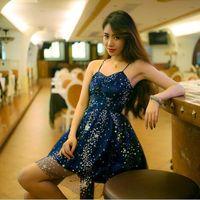 patrón de vestido azul marino al por mayor-Nueva moda de las mujeres sexy correa de espagueti azul marino paillette shinny bling patrón de estrellas de gasa de cintura alta vestido de bola vestido corto vestidos