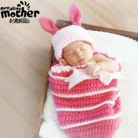 Wholesale Rabbit Hat Costume - Pink Cute Rabbit 3d Handmade Knitting Photography Props Costume Knitted Girls Baby Sleeping Bag Knitting Baby Beanies Hats