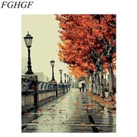 Wholesale yellow oil paint canvas - FGHGF Autumn Walk In Yellow Tree Road Landscape DIY Oil Painting By Numbers Handpainted By Yourselve With Inner Framed