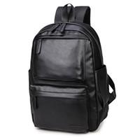 mochilas casuales masculinas al por mayor-Nueva Pu de cuero de los hombres Mochila Negro Moda Hombre Laptop Pack Impermeable Casual Boy School Bolsas de hombro Para Mochilas de los hombres HAF009