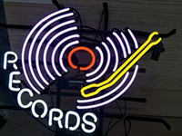 Records Neon Signs 17*14 inch, Real Neon Signs Made with Glass Tubes, Brilliant Neon Open Sign. Eye-catching