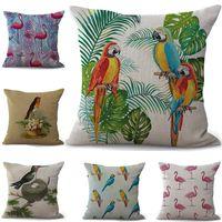 almohadas de loro al por mayor-Colorido Flamingo Parrot Funda de Almohada Funda de cojín de lino de algodón Throw Square Funda de Almohada Cubierta Drop Ship 300830