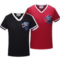 Wholesale Wolf Designs - Medusa T-Shirts Summer Men's Italian Fashion Wolf Head Embroidered T-shirt Boys' Ribbed V Neck Design Red & Black Letter Print Short Sleeve