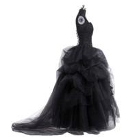 korse gelin elbisesi toptan satış-Gotik Vintage Siyah Gelinlik 2018 Balo Korse Lace Up Ruffles Çiçek Gelin Törenlerinde Seksi Gelin Elbiseler