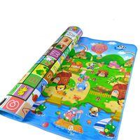 baby-crawling-matten großhandel-Quadrat gedruckt Cartoon Baby Kind Kleinkind Crawl spielen Spiel Picknick Tier Brief Alphabet Bauernhof Mat Blanket
