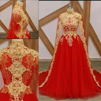 Wholesale vintage evening dresses for sale for sale - For Sale Red Long Evening Dresses Long Sleeve A Line Dress With Jacket Special Occasion Dresses Gold Appliques Prom Dresses Evening Gowns