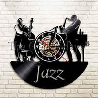 fã de jazz venda por atacado-1 Peça Instrumento de Música de Jazz Disco de Vinil Relógio de Parede Música Legal Sala de estar Interior Decorativa Relógio Presente Para O Fã de Jazz
