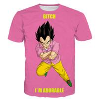 gott 3d druck t-shirts großhandel-Oansatz Männer 3d T-shirt Dragon Ball Z Ultra Instinkt Sohn Goku Super Saiyan Gott Blau Vegeta Print Cartoon Sommer Top T-shirt