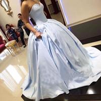 simples vestidos de fiesta azules al por mayor-2018 Elegante Simple Ice Blue Ball Vestido de noche Vestidos de novia Larga Mancha Barrido por encargo Tren Vestidos de baile Vestidos de fiesta de princesa