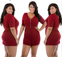 Wholesale plus size rompers online - Plus Size Deep V neck Rompers Women Clothing Wine Red Jumpsuits For Women Size XL XL