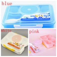 Wholesale lunch storage - 5 in 1 Lunch Box Microwave Fruit Food Container Portable Picnic Storage Box Outdoor Travel Bento Box For Kid School Lunch FFA006