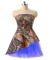 короткие платья без бретелек оптовых-Камуфляж платье возвращения на родину без бретелек Короткое платье возвращения на родину Формальное вечернее платье Maid of Honor Платье выпускного вечера Camo