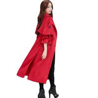 gabardina roja cruzada al por mayor-2018 nuevas mujeres delgadas abrigo rompevientos mujer primavera otoño rojo doble botonadura trench coat para como mulheres abrigos elegantes cm2110