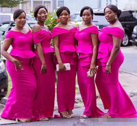 Wholesale images royal blue dresses for weddings online - 2019 African Fuchsia Mermaid Bridesmaid Dresses Plus Size Off The Shoulder Peplum Tiered Stain Maid Of Honor Dress For Wedding Guest Gowns