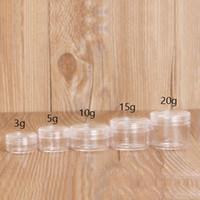 mini crema pequeña al por mayor-100Pcs 2g 3g 5g 10g 15g 20g Mini Frasco Crema Claro con Tapa Envase de Cosméticos Plástico Vacío, frascos de embalaje de muestra pequeña 10/24