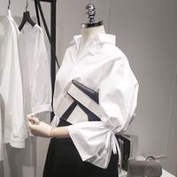 ingrosso camicette top grandi dimensioni-Nuovo casuale delle donne di base di autunno di estate camicetta superiore camicia bianca del lavoro di usura Bandage allentato Big Size