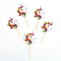 Wholesale cupcake cakes for birthdays resale online - Cartoon Unicorn Cake Cupcake Topper Toothpick Happy Birthday Illustration For Baby Shower Party Decoration Ornament Hot Sale yn BB