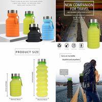 zusammenklappbare tassen zum campingplatz großhandel-550 ML Silikon Versenkbare Faltbare wasserflasche Im Freien Teleskop Faltbare Kaffeeflasche tasse für Wandern Camping Picknick GGA680
