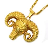 Wholesale Bulls Hip Hop Necklace - 2017 Gold color Bull Hip Hop Necklace Hiphop Long Chian Ngau Tau Necklaces For Men Women Boys Punk Jewelry Rock Accessorie