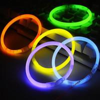 führte halskette neon großhandel-200mm party sticks Glow Stick Armband Halsketten Neon Party LED Blinklicht Sticks Zauberstab Neuheit Spielzeug LED Gesang Konzert LED Flash Sticks
