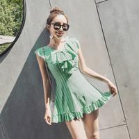 sıcak kızlar genç toptan satış-Sıcak Bahar Artı Boyutu Plaj Kıyafeti Etek Genç Kız Tek Parça Mayo Elbise Çiçek Baskı Mayo