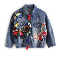 Wholesale Embroidery Butterfly Patch - Colorful Butterfly Embroidery Ladies Jean Jackets Patch Designs Womens Denim Coats with Tassel Frayed Slim Jacket Blue