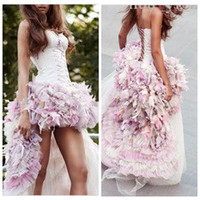 Wholesale Tulle Appliques Beads Handmade Flowers - 2018 Sexy Spaghetti Ball Gown Wedding Dresses Short Front Long Back 3D Handmade Flowers Adorned Tulle Hi-Lo Colorful Bridal Gowns Custom
