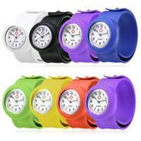 многоцветный силиконовые часы группы оптовых-Shellhard 1pc Fashionable Hospital Nurse Slap Watch Silicone Band Quartz Girl Boy Kids Multi Color Snap On Wrist Watch Relogio